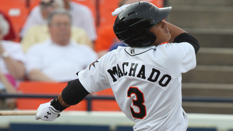 SS Manny Machado went deep in his second at bat in the Carolina League.